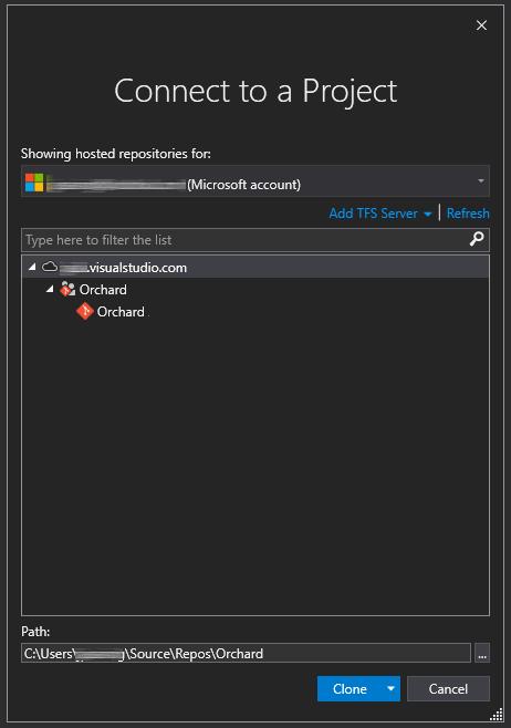 """Capture d'écran du dépôt Git """"Orchard"""" sélectionné dans la boîte de dialogue """"Se connecter à un projet"""" dans VisualStudio"""