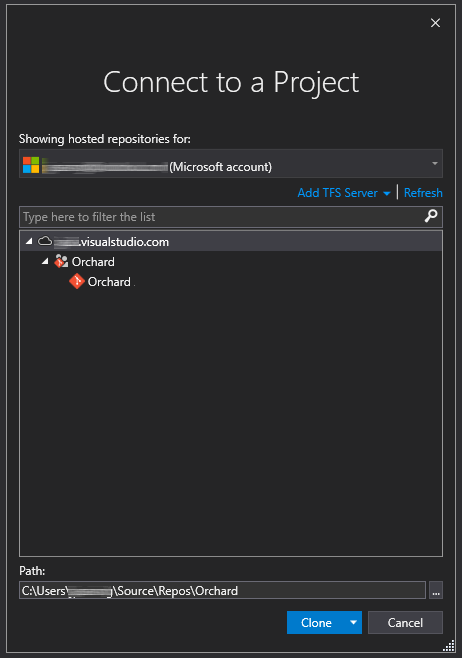Visual Studio の [プロジェクトに接続] ダイアログで [Orchard] Git リポジトリが選択されているスクリーンショット