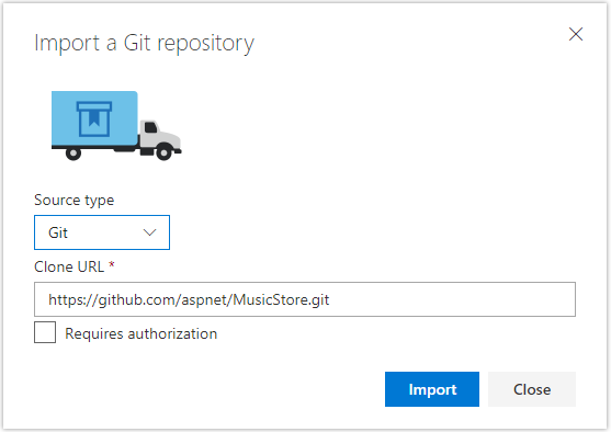 "Captura de pantalla del cuadro de diálogo ""Importar un repositorio de Git"""