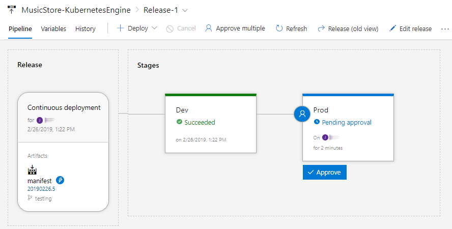 Screenshot showing the release page and a message 'A pre-deployment approval is pending ... Approve or Reject'