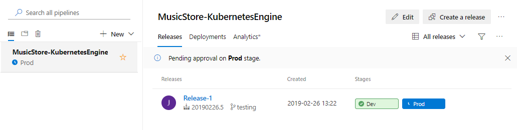 Captura de tela mostrando que o processo de versão foi iniciado