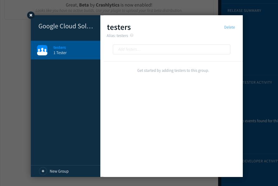 configurar 'testadores' como grupo