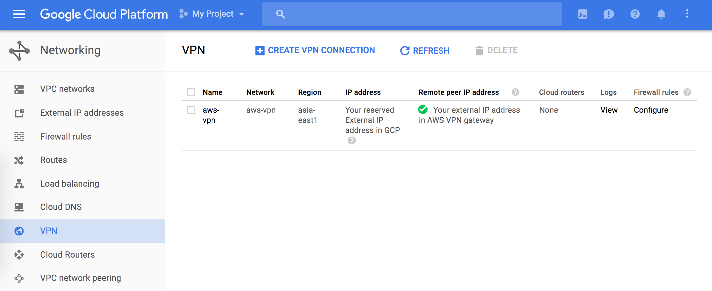 VPN configuration on the Cloud Console