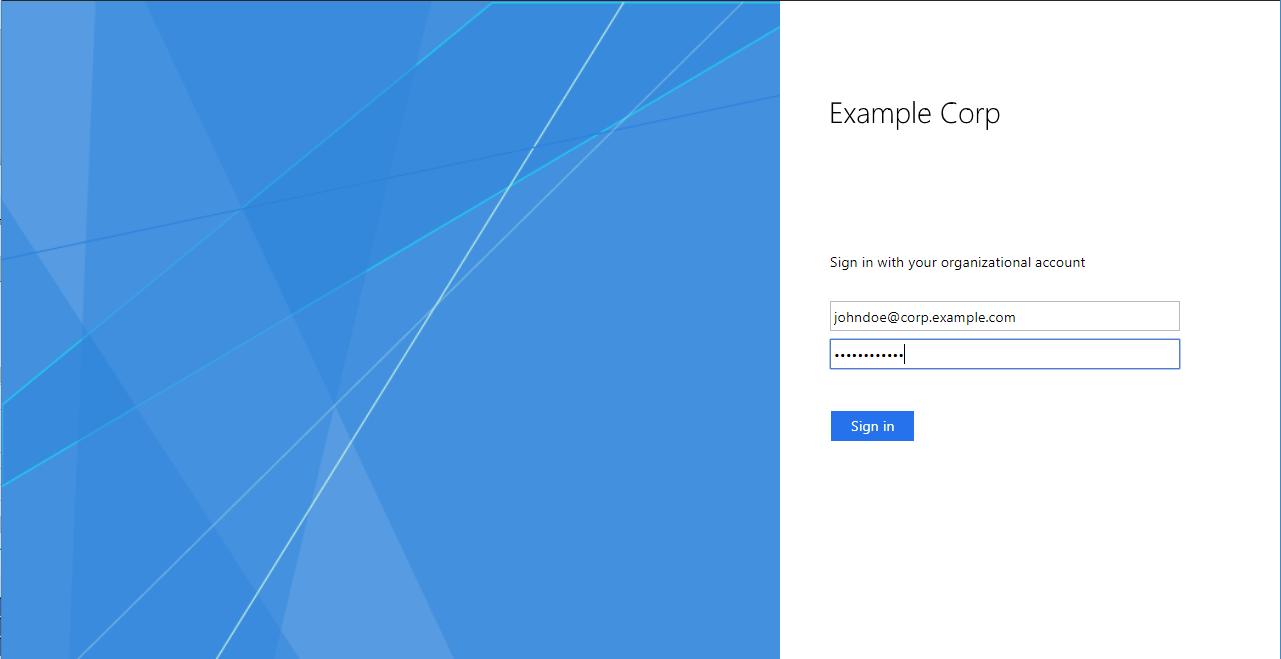 Active Directory ユーザーの UPN とパスワードを入力する。