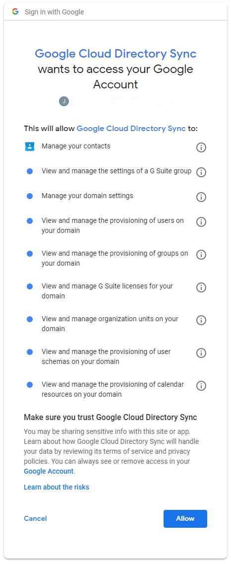 Autoriser ad-synchronizer sur les données de votre compte CloudIdentity