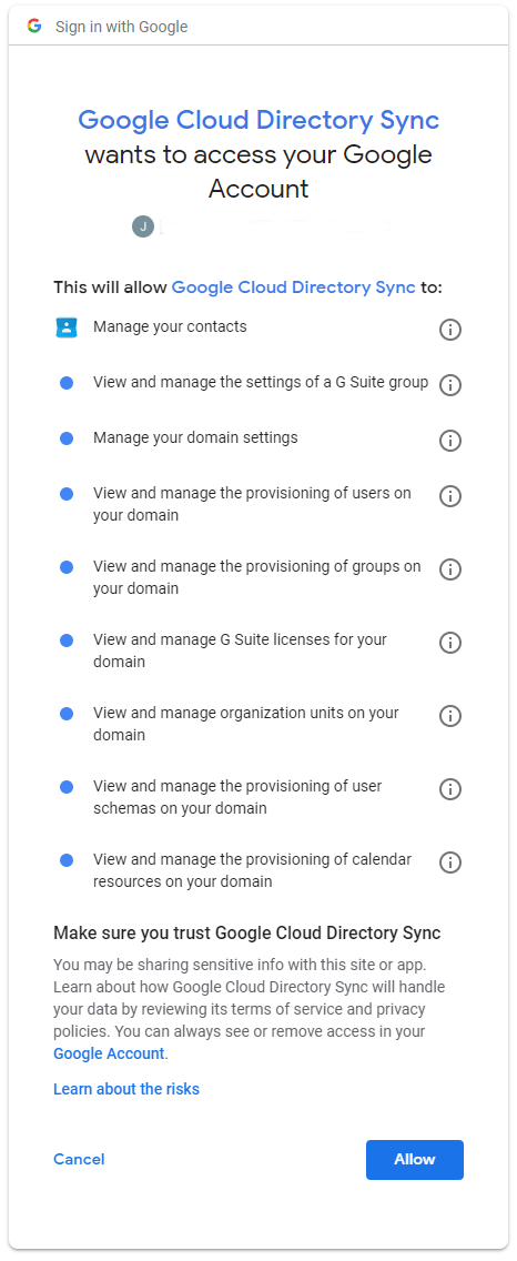 Authorizing cloud-directory-sync to data in your Cloud Identity or GSuite account.
