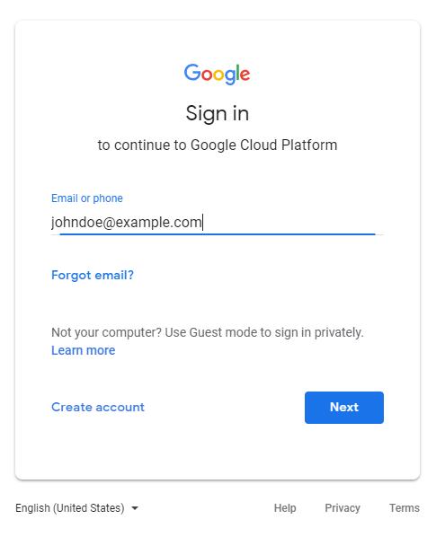 E-Mail-Adresse des Nutzerkontos eingeben