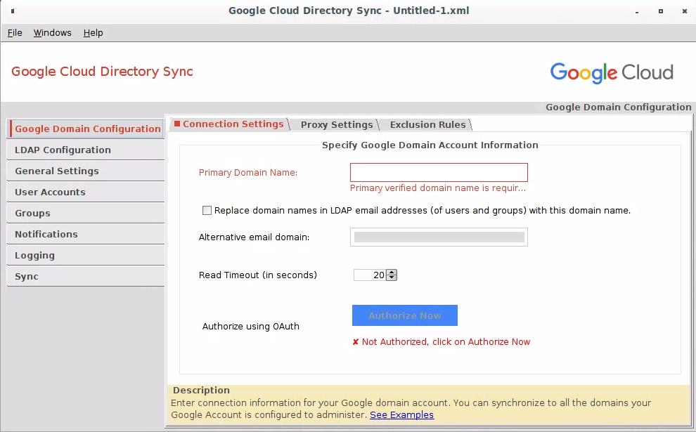 Google Domain Configuration > Connection Settings.