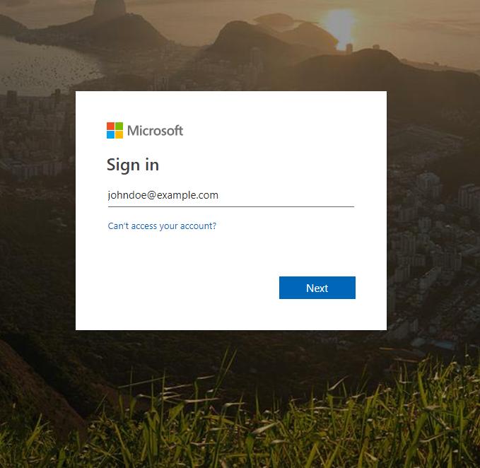Anmeldebildschirm, der zur Eingabe eines UPN auffordert