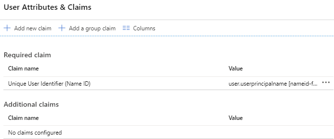 User Attributes & Claims dialog