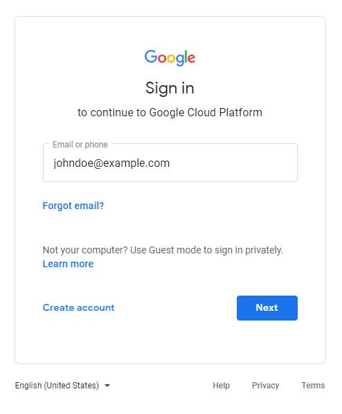 Caixa de diálogo de login do Google