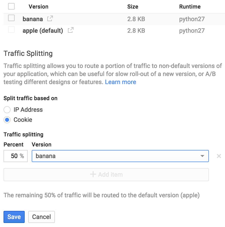 Traffic splitting settings in the Google Cloud Platform Console