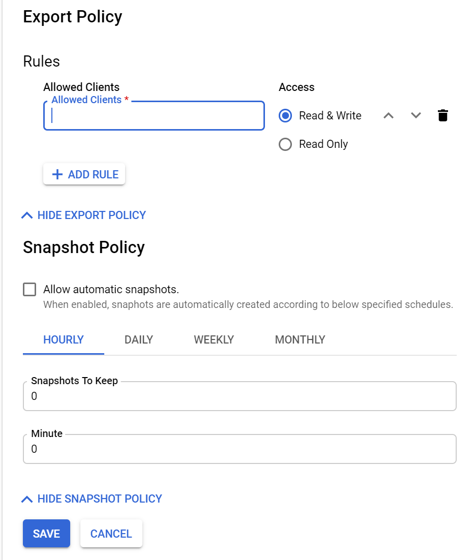 Export policy page
