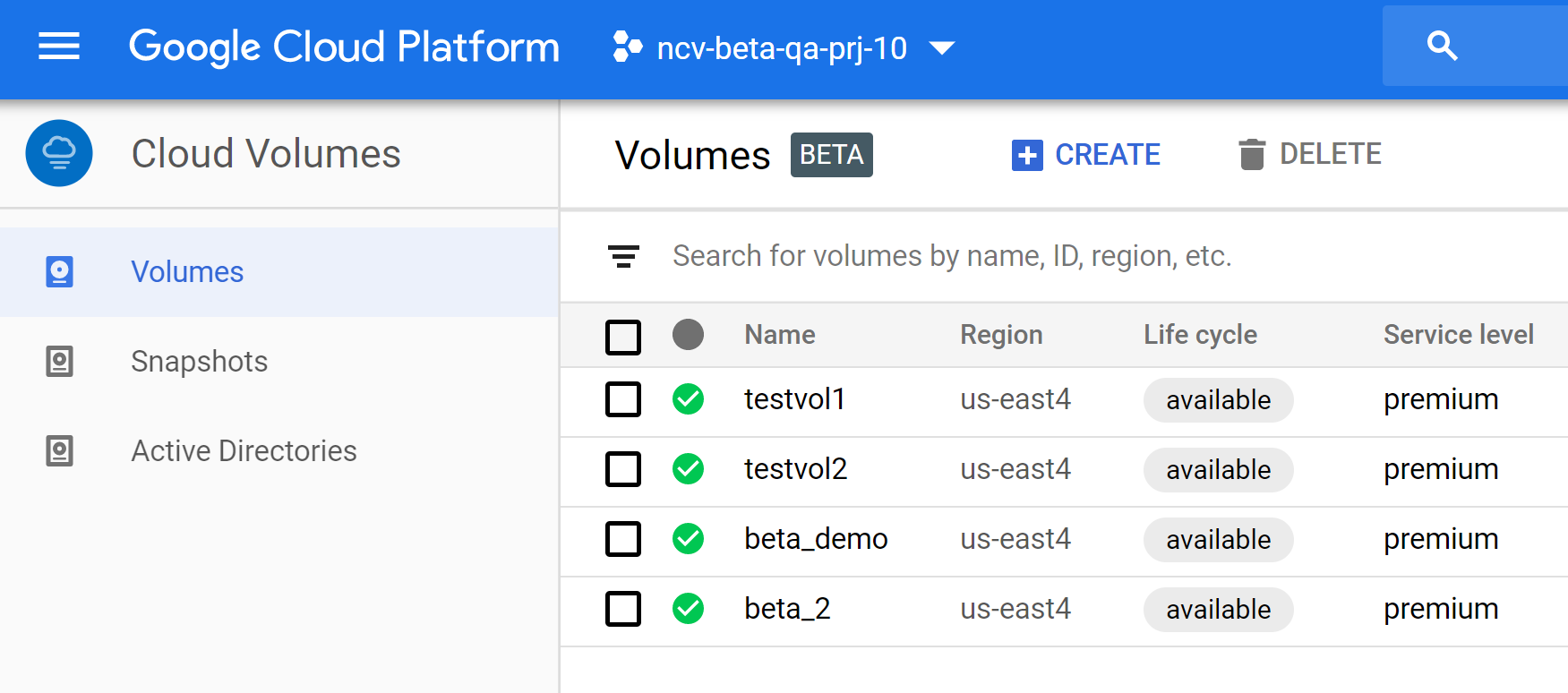 Cloud Volumes in the GCP console