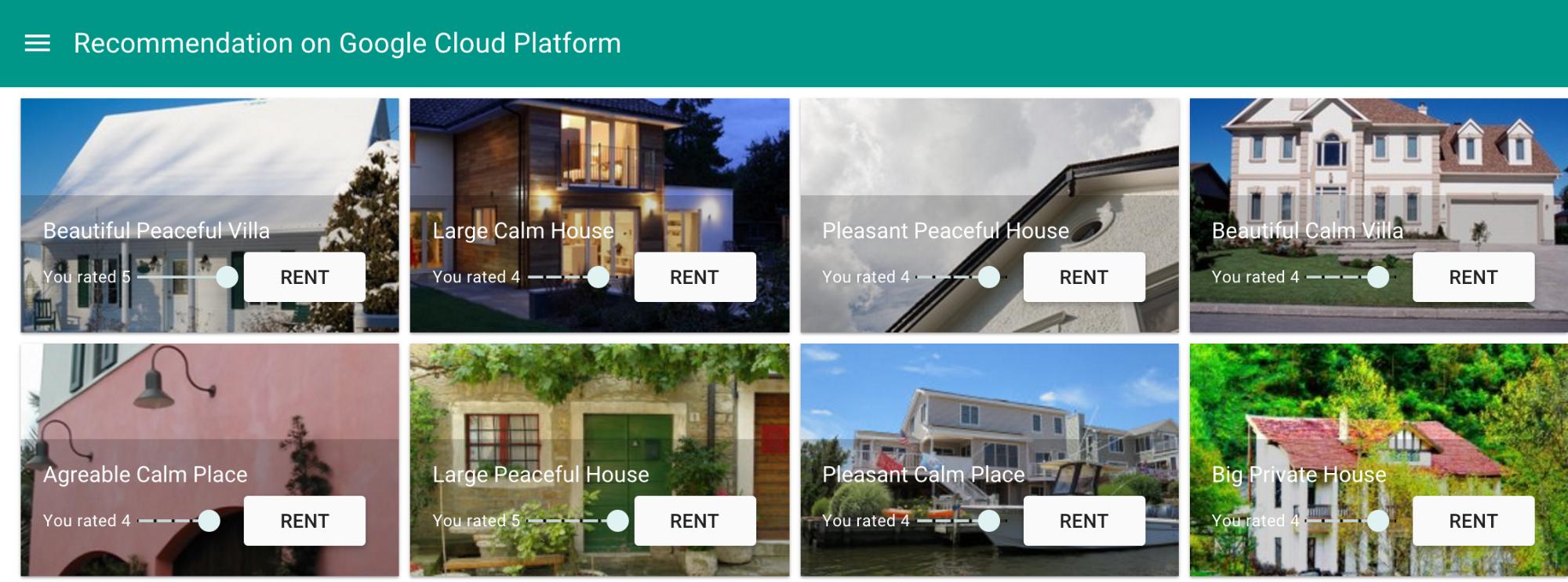 A interface do usuário ativa propriedades de aluguel para temporada