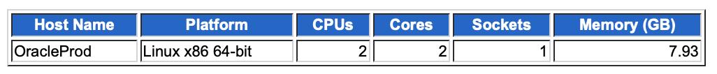 Oracle AWR レポートに表示されるリソース情報の例。