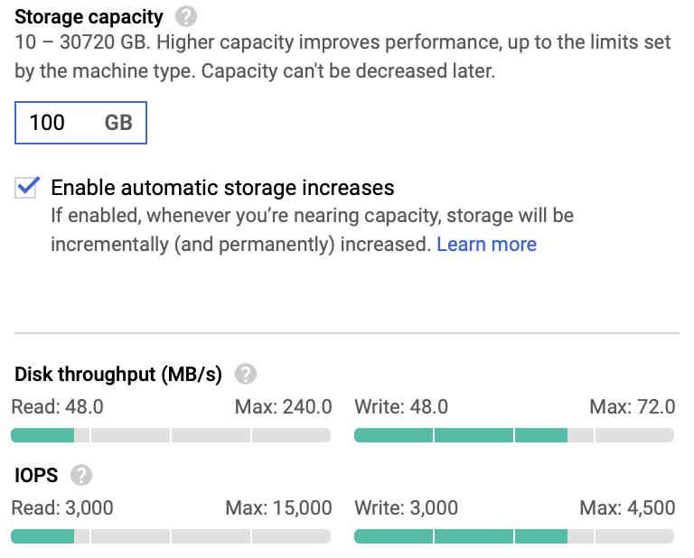 Speicherkapazität bei 100 GB