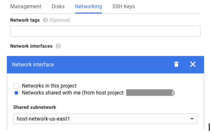 """""""Networks shared with me"""" section of Create Instance page"""