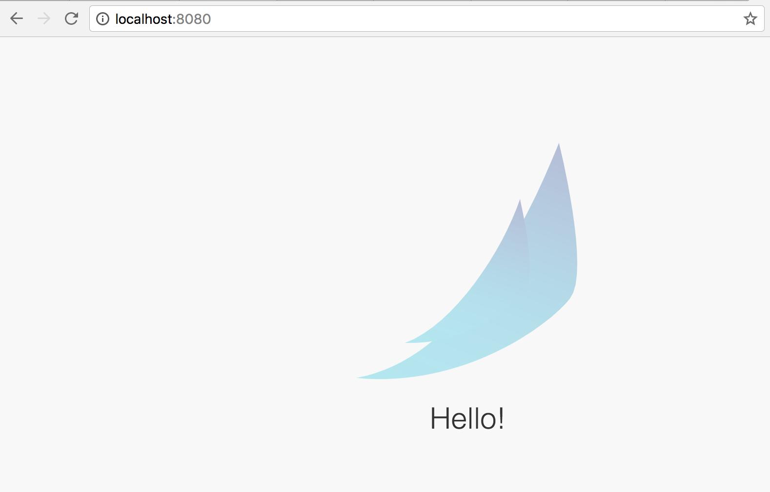 Welcome screen displaying Hello.