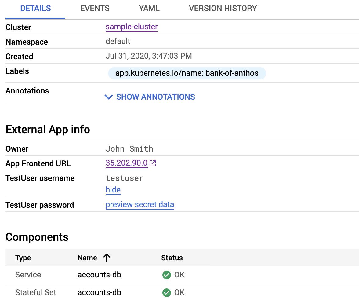 Os detalhes do aplicativo incluem links para acessar credenciais.