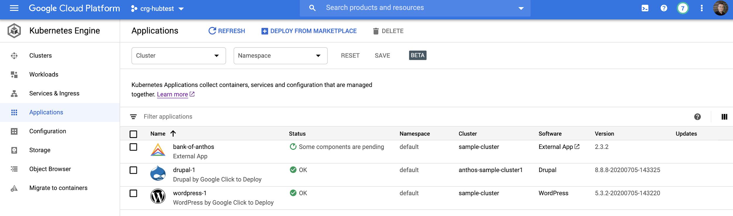 Uma visualização parcial da página Aplicativos que mostra uma lista de aplicativos e várias propriedades.