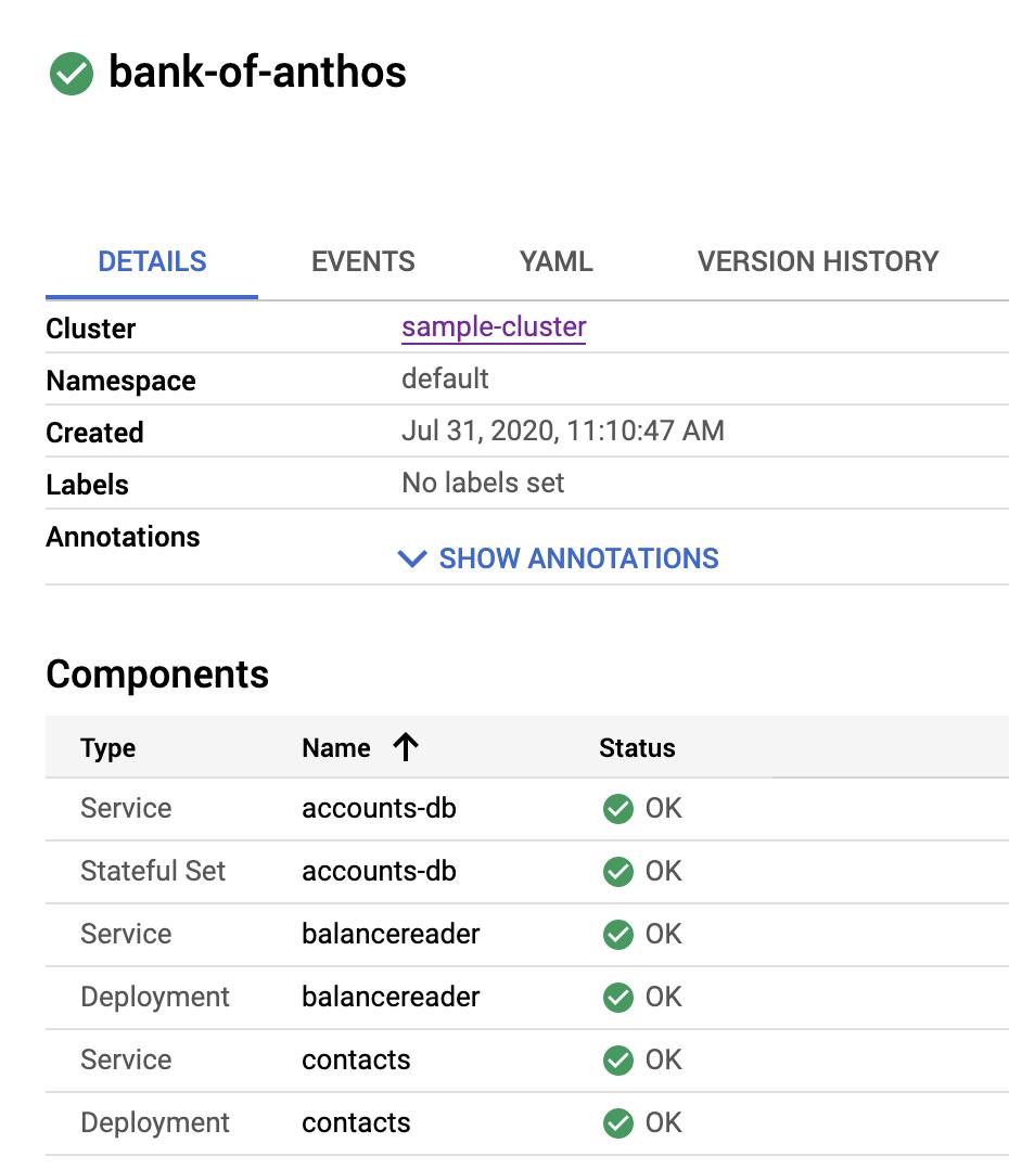 La lista de detalles incluye los tipos de componentes, como Service y Deployment.