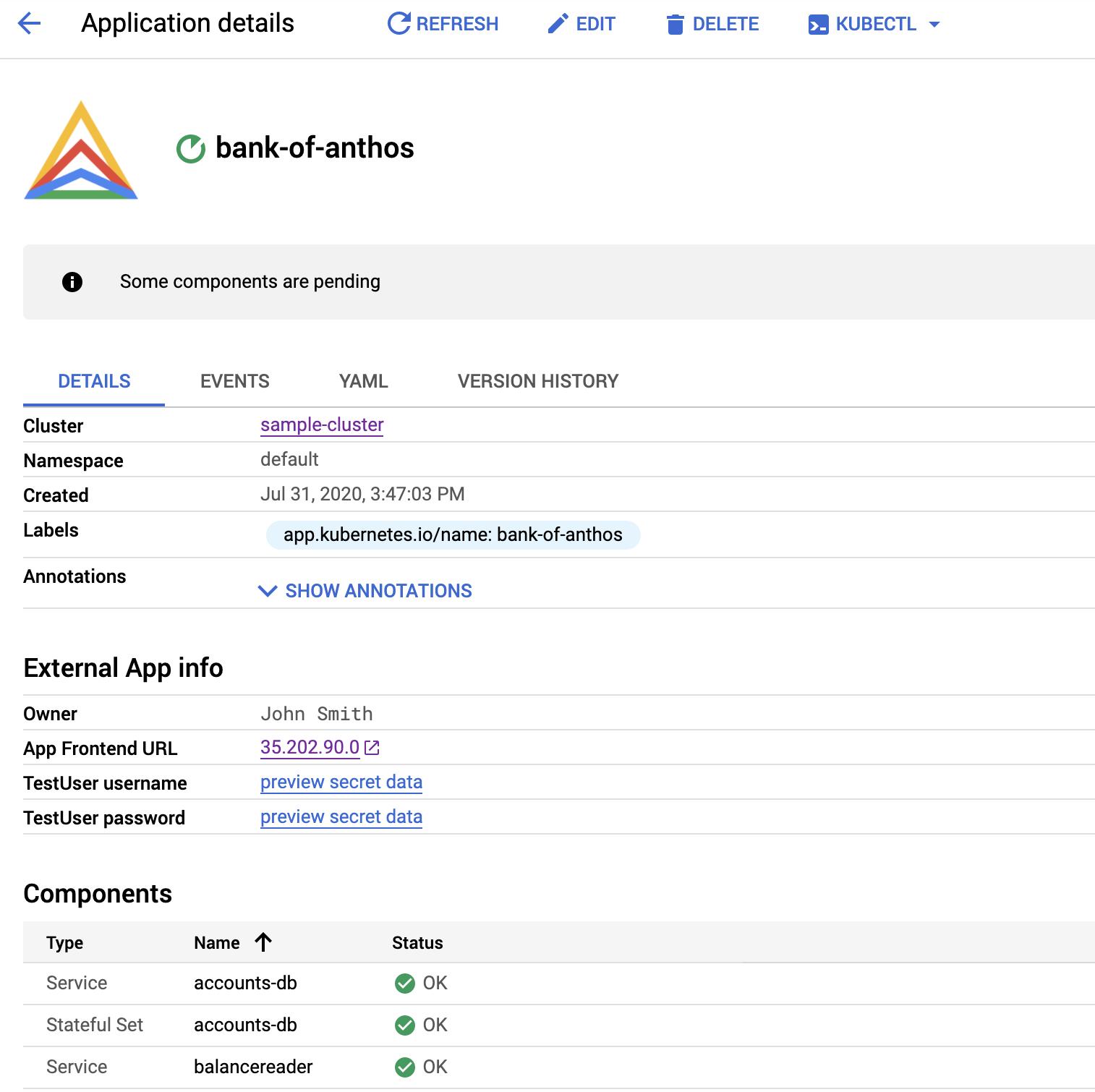 Ein Logo wird oben in der Liste der Anwendungsdetails angezeigt.