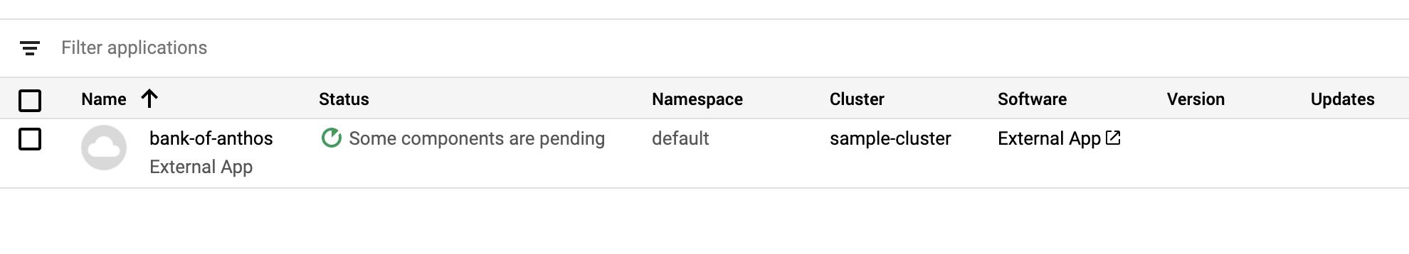 El tipo de software de aplicación externa tiene el formato de un hipervínculo.
