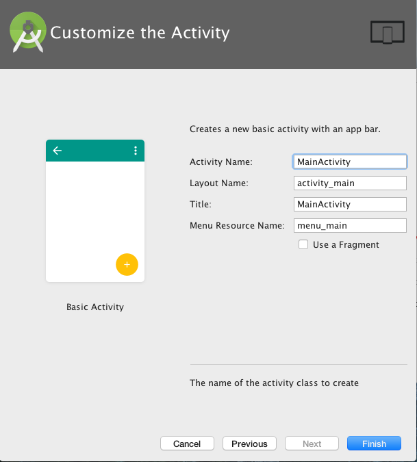 Customize activity