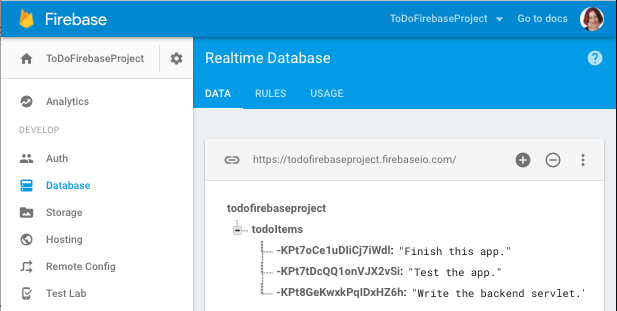 Data added to Firebase