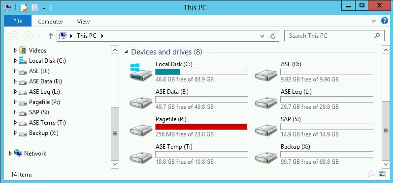 Deployment Manager 为 ASE 创建的磁盘驱动器。