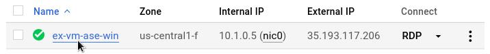 Nome da VM na página Instâncias da VM.