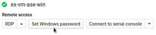 Haz clic en el botón de la página de detalles de la instancia de VM para configurar la contraseña de Windows.