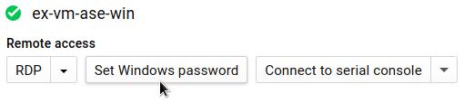 Définition du mot de passe Windows en cliquant sur le bouton correspondant, situé sur la page d'informations de l'instance de VM.