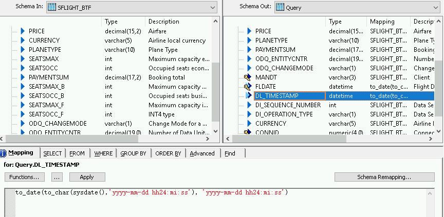 """Screenshot, der die Definition des Feldes """"timestamp"""" des Deltaladevorgangs auf dem Tab """"Mapping"""" (Zuordnung) für die Deltaladeschemas zeigt."""