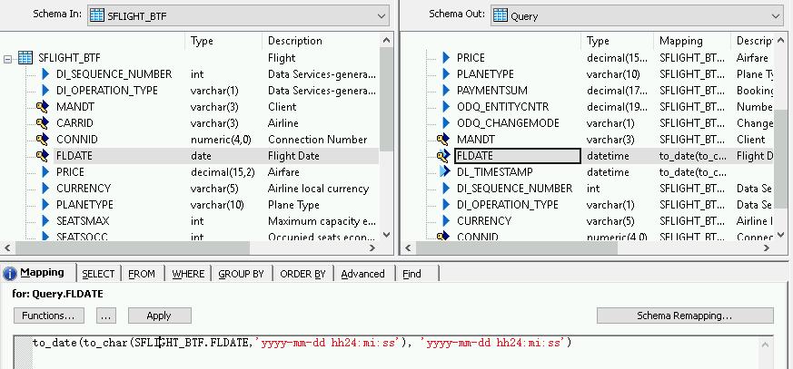 """Screenshot, der die Ersetzung des Feldes """"date"""" auf dem Tab für die Schemazuordnung zeigt."""