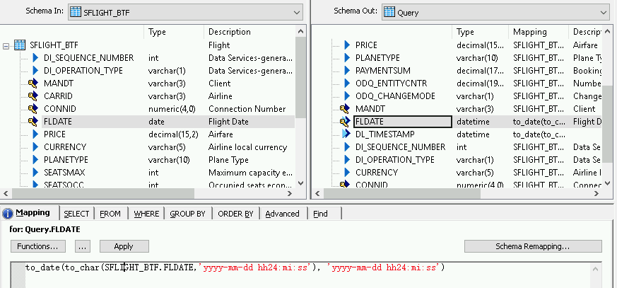 Captura de pantalla que muestra el reemplazo del campo de fecha en la pestaña de asignación de esquemas.