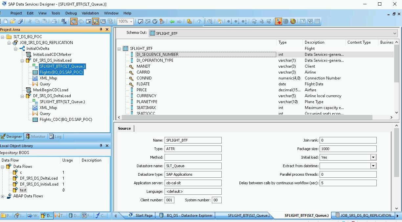Capture d'écran de la fenêtre SAP DataServices Designer affichant le schéma de sortie