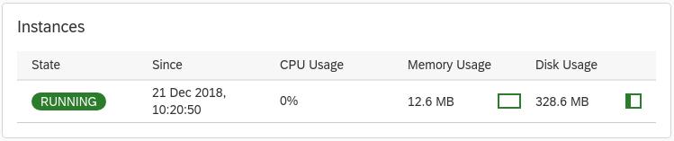 """Grafik: Die grün hervorgehobene Anzeige """"RUNNING"""" gibt an, dass Google Cloud Service Broker ausgeführt wird."""