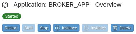 """Grafik: Die grün hervorgehobene Anzeige """"Started"""" gibt an, dass Google Cloud Service Broker gestartet wurde."""
