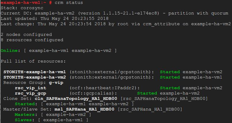 Captura de pantalla del resultado de crm status que muestra que los hosts principal y secundario cambiaron las VM