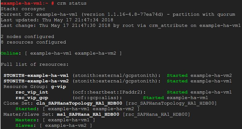 Ejemplo que muestra el estado del clúster y los recursos que muestra el comando crm status