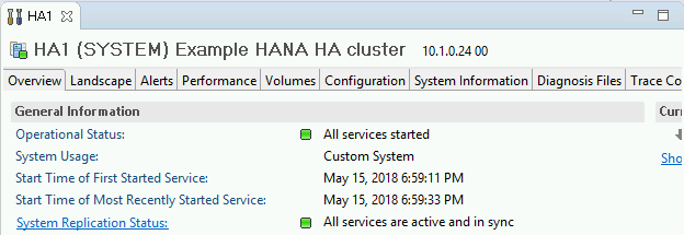 Screenshot of the Overview tab in SAP HANA Studio