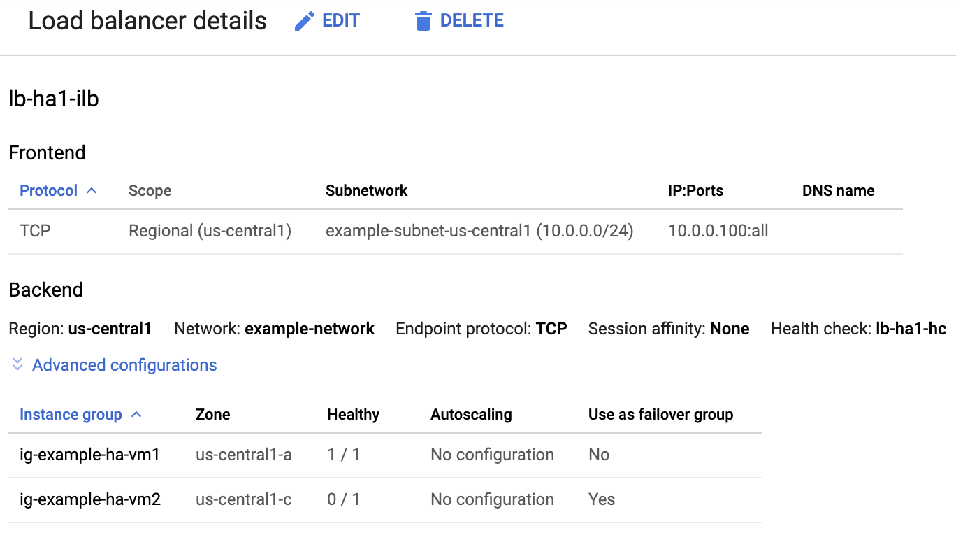 """Shows the load balancer details page with the active primary instance group indicated by """"1/1"""" and the inactive secondary indicated by """"0/1""""."""