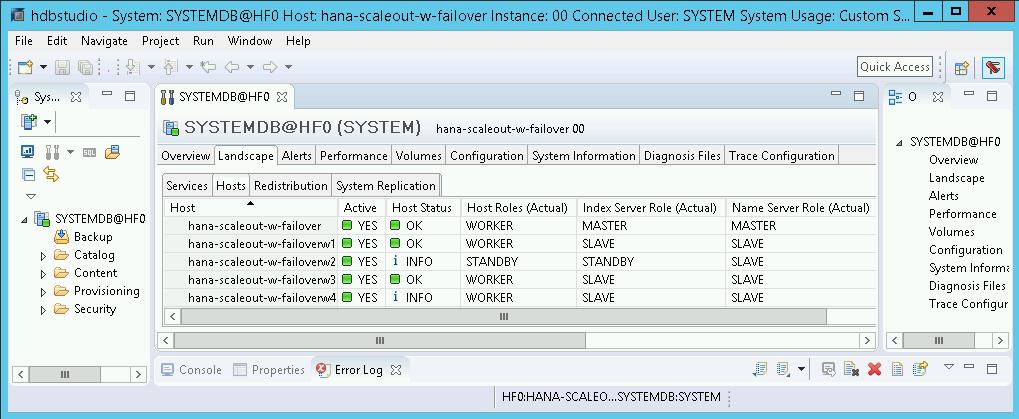 Captura de pantalla de la vista Entorno de SAPHANAStudio