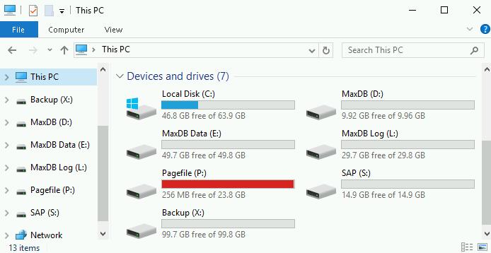 Deployment Manager によって MaxDB 用に作成されたディスク ドライブ。