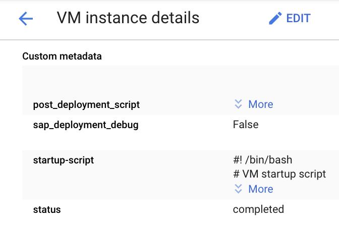 """Screenshot mit """"startup-script"""" mit anderen Einträgen im Abschnitt """"Benutzerdefinierte Metadaten"""" auf der Seite """"VM-Details"""" in der Cloud Console"""