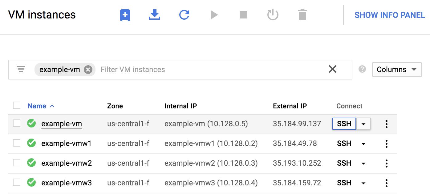 """Schaltfläche """"SSH"""" auf der Seite """"VM-Instanzen"""" von Compute Engine"""