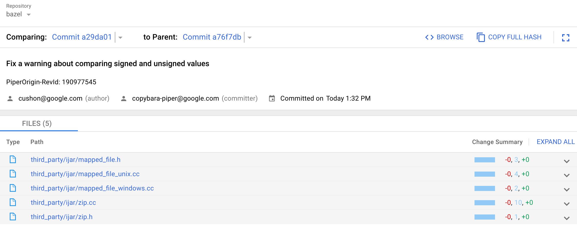 Commit Details Main View
