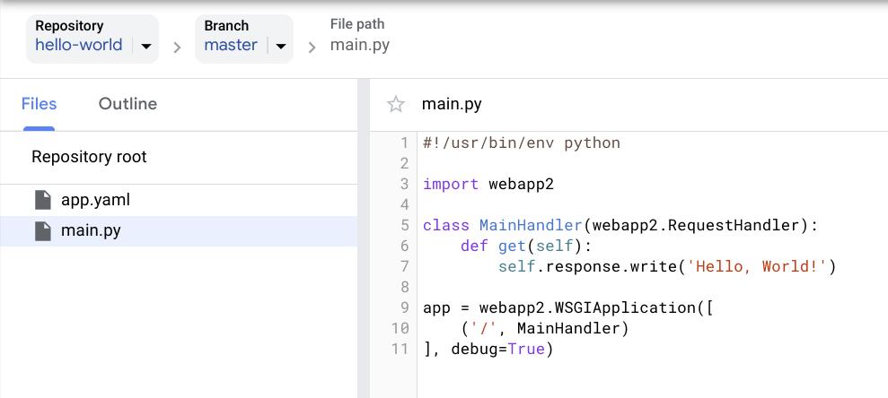 Captura de tela que mostra a lista de arquivos no Cloud Source Repositories